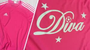 Das Adidas Frauen Trikot mit Druck des Diva Logos