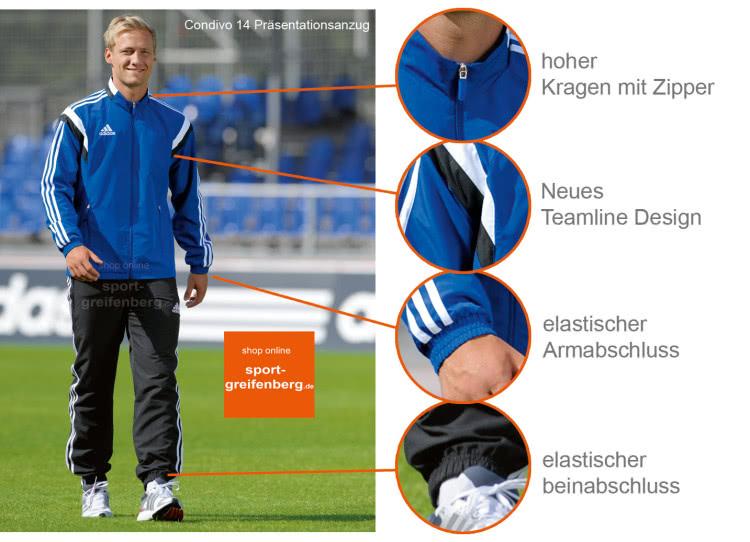 Der Adidas Condivo 14 Präsentationsanzug und Trainingsanzug mit allen Details