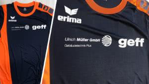 Die Erima Lauf Shirts mit Bedruckung der Firma Müller