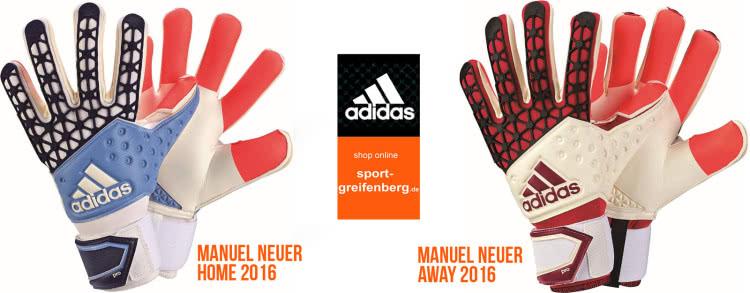 Manuel Neuer Torwarthandschuhe Home (blau) und Away (rot) als Adidas Ace Zones Pro