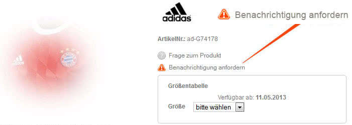 Benachrichtigung zum Bayern Trikot