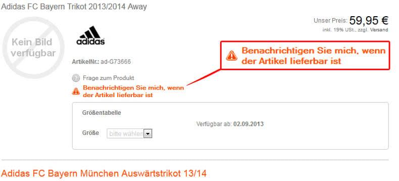 Bayern M�nchen Away Trikot mit Email Benachrichtigung