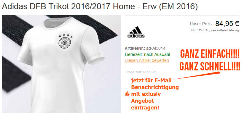 DFB Trikot vorbestellen