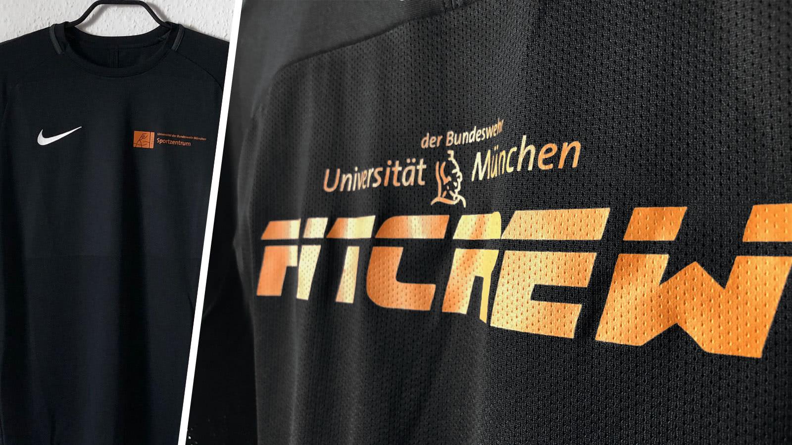 Die Bundeswehr Universität München mit der eigenen Fitcrew Trikot Bedruckung