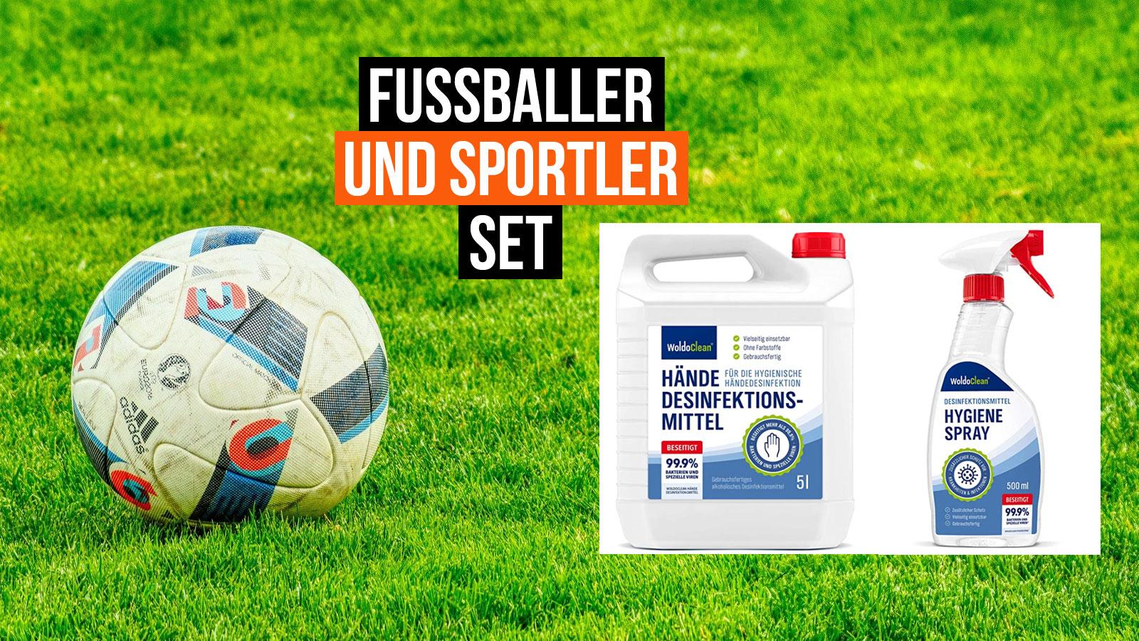 Das Fussball-Desinfektionsmittel-Set jetzt günstig online bestellen