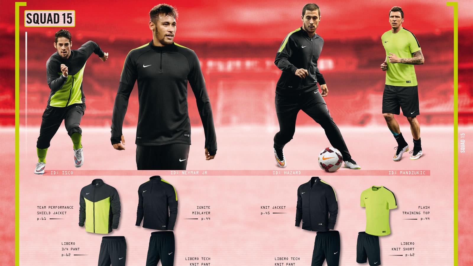 Im Nike Football 2015-2016 Katalog gibt es die Nike Squad 15 Teamline