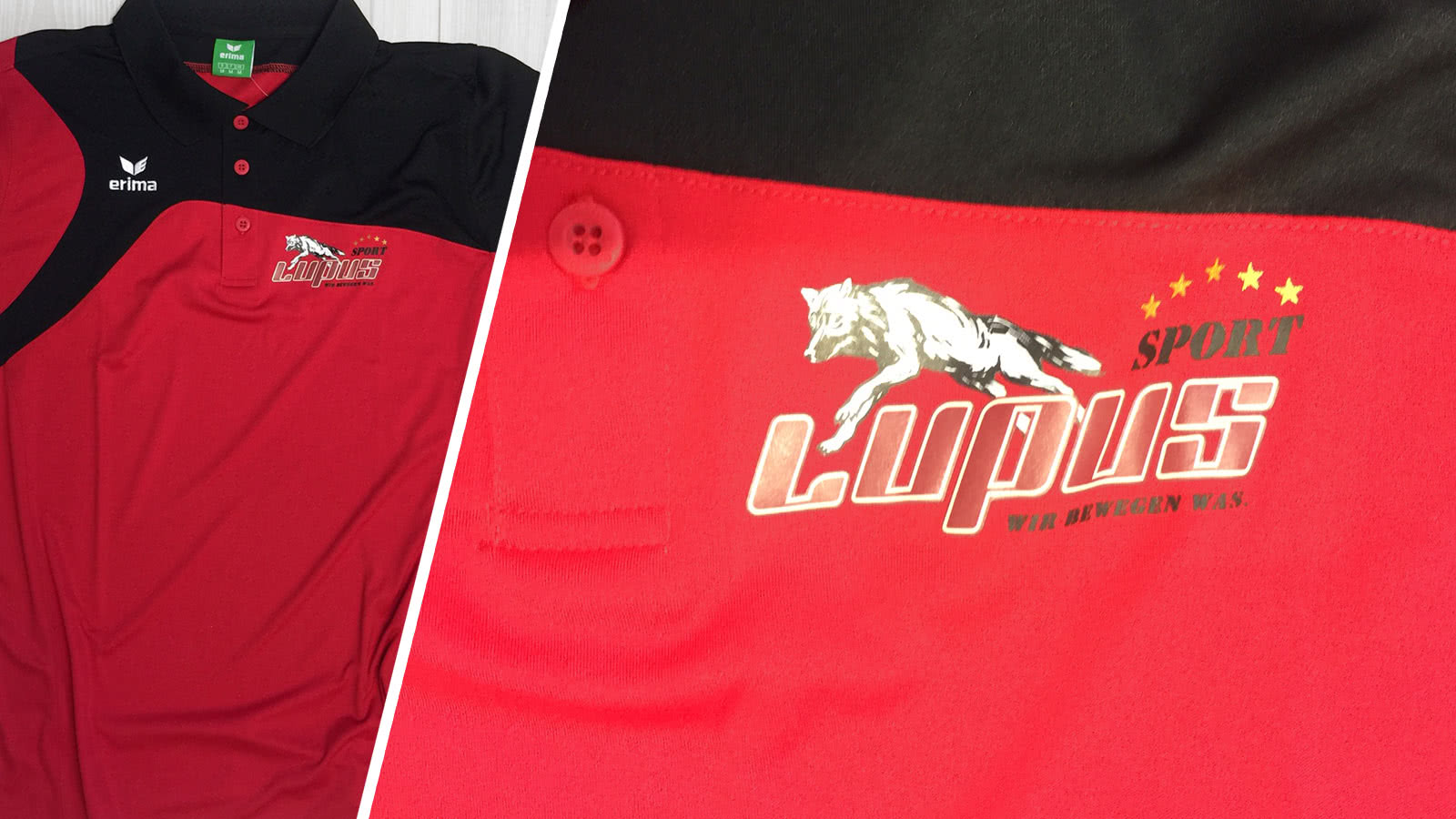 Die Erima Poloshirt Bedruckung von Lupus Sport