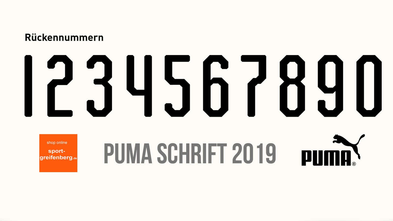 die Puma Schriftart für 2018/2019 und 2019/2020