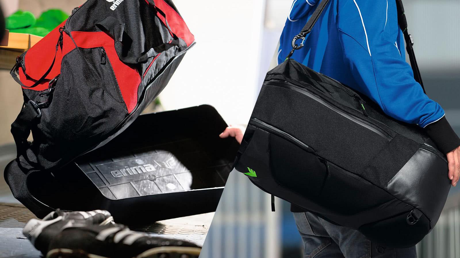 Sporttasche mit Bodenfach und Sporttasche mit Seitenfach