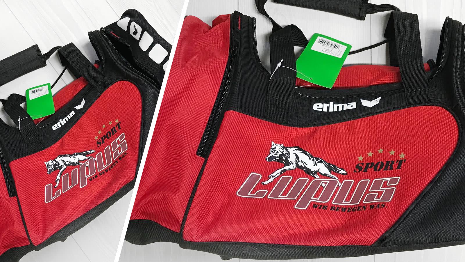 Die Taschen mit farbigen Logo von Lupus Sport