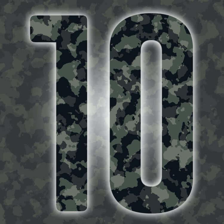 Rückennummern: grün Trikot Nummern in Camouflage