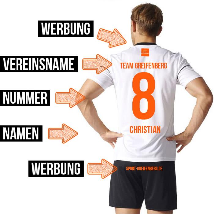 Der Trikotsatz Druck der Rückseite mit Vereinsnamen und Nummern