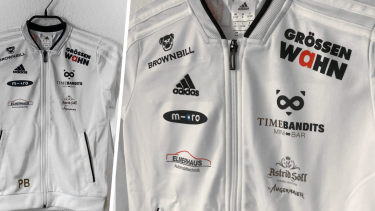 adidas Trainingsjacken mit vielen Sponsoren Beispiel / Referenz