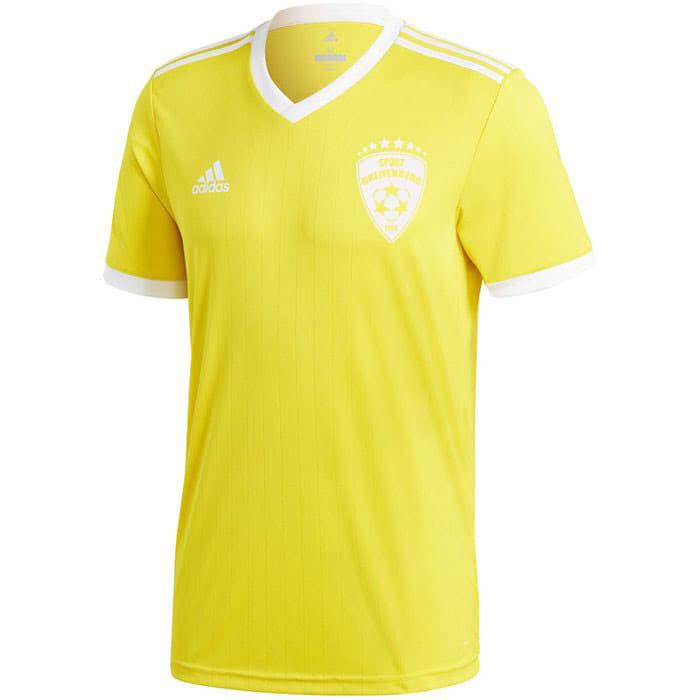 Das adidas Trikot in gelb mit einem weißem Druck