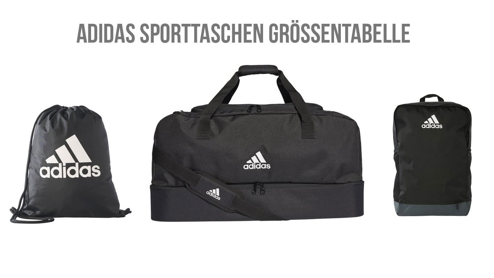 Die Sporttaschen Größen der adidas Tiro 19 Teambag und der adidas Tiro 19 Teambag mit Bodenfach