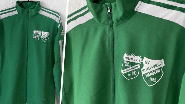 die adidas Squadra Trainingsjacke mit Vereinslogo Bedruckung in weiß