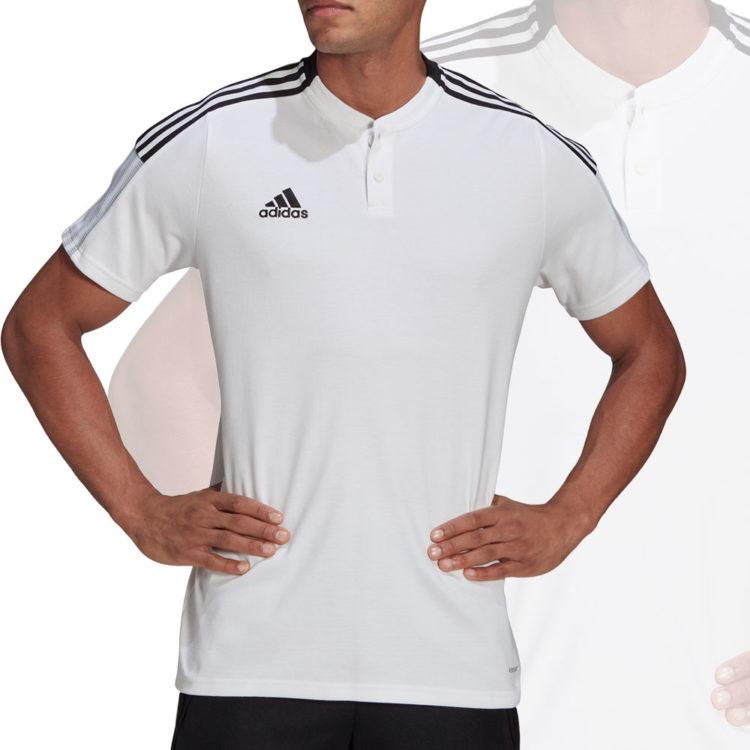 Das adidas Tiro 21 Polo mit neuem Kragen in weiß