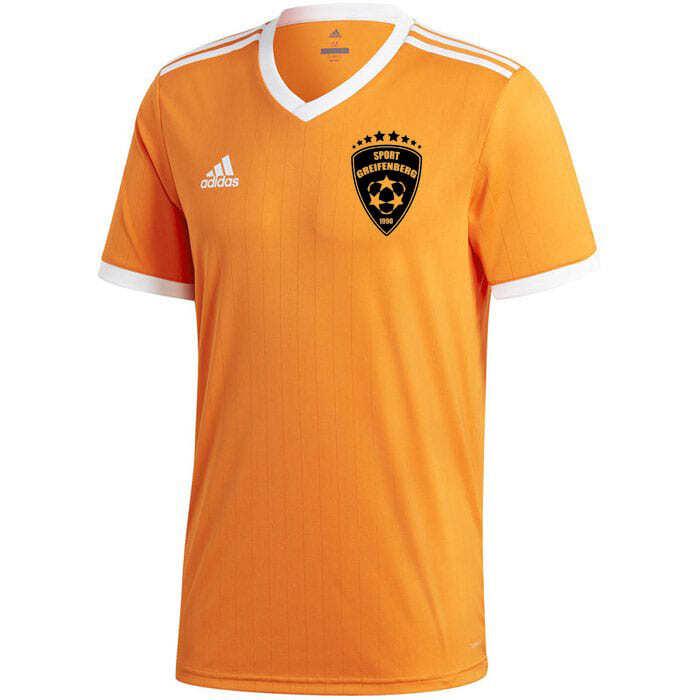 adidas trikot in orange mit schwarzem Druck