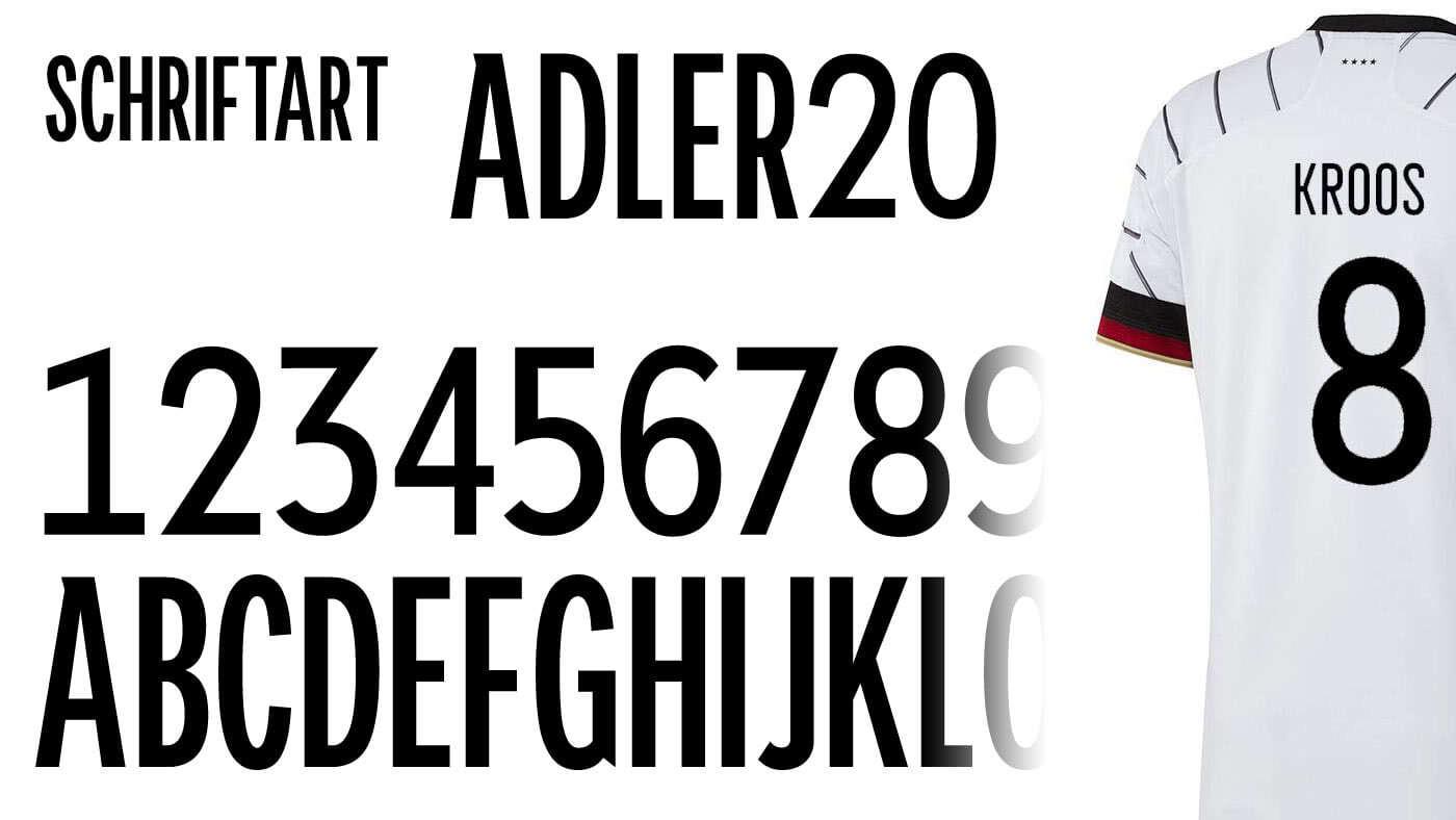 die adler 20 Schriftart für alle adidas Trikots