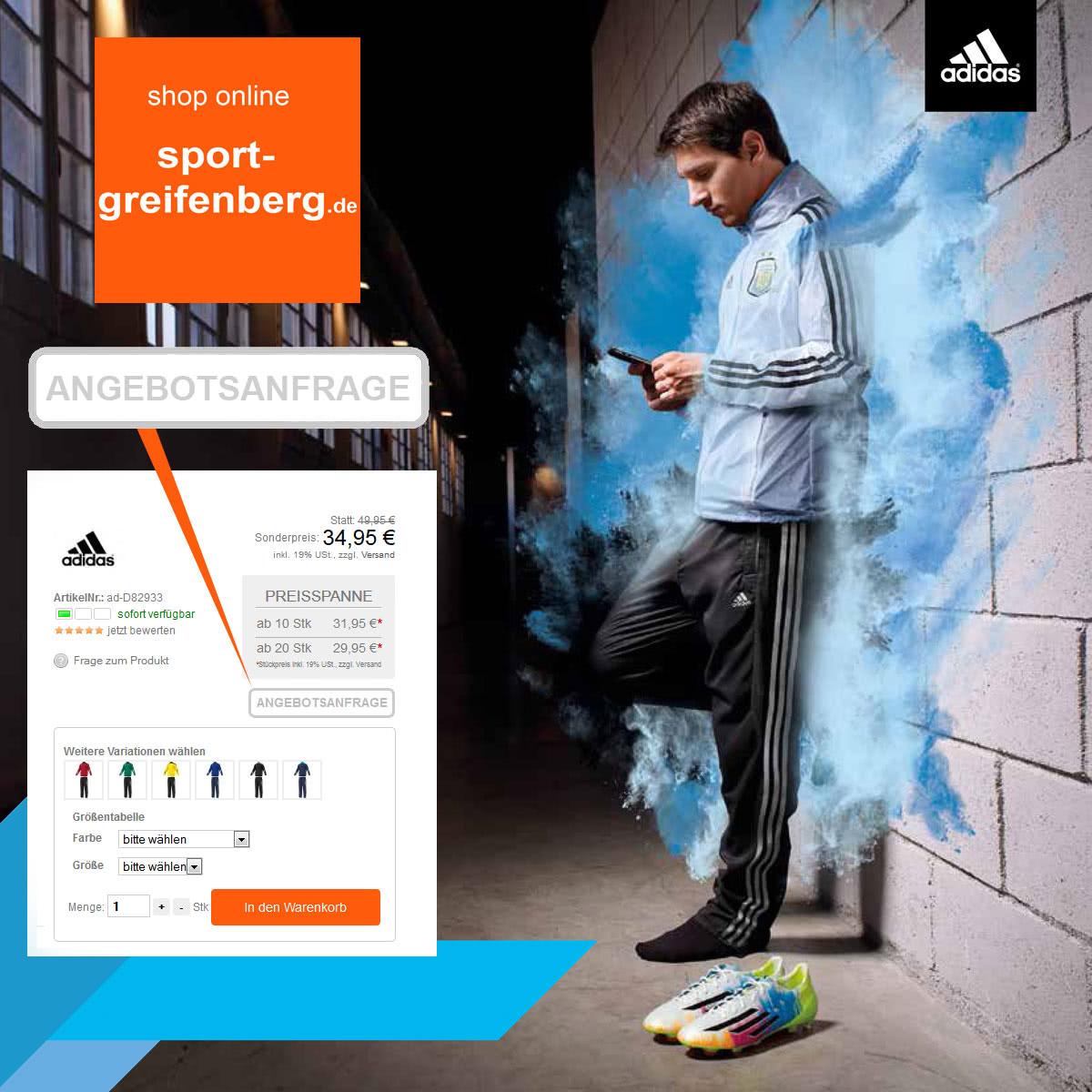 Die Angebotsanfrage für die Adidas Anpfiff 2014 Flyer Produkte