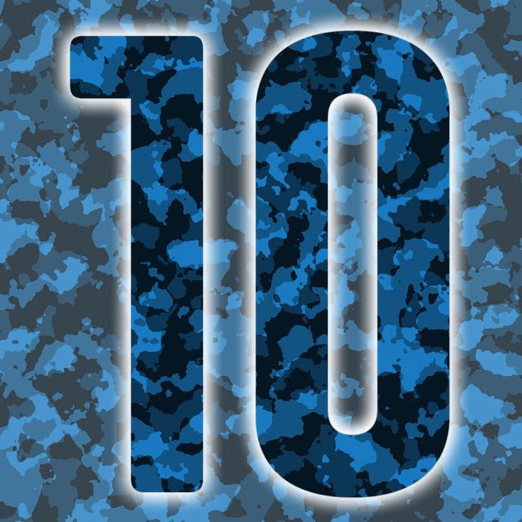 Rückennummern: blaue Trikot Nummern in Camouflage