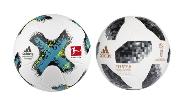 Der Bundesliga Ball und WM Ball im Vergleich