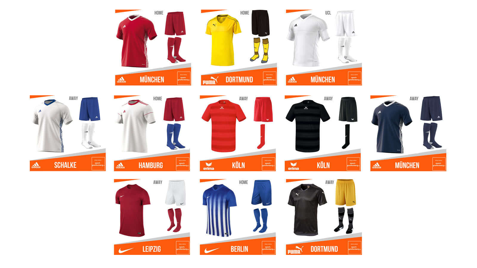 Bundesliga trikots hosen stutzen 2017 2018 sportartikel for Bundesliga trikots