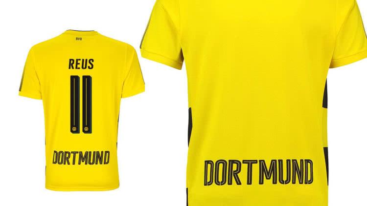 """BVB Trikot 2017/2018 Schriftart und Bedruckung mit Namen sowie Rückenummern und """"Dortmund"""""""