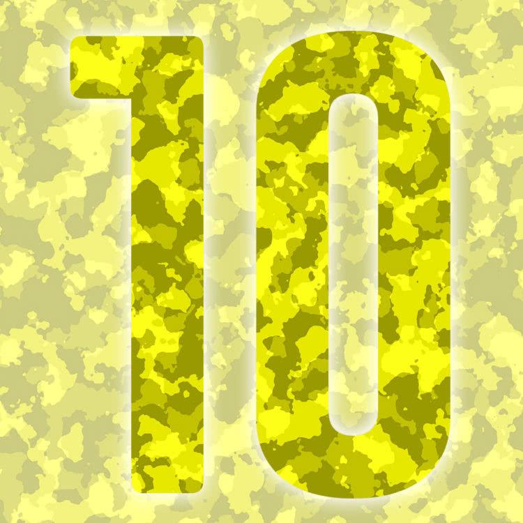 Rückennummern: gelbe Trikot Nummern in Camouflage
