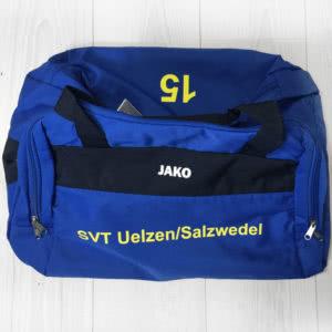 Die Sporttasche mit Vereinsnamen und Nummern Bedruckung