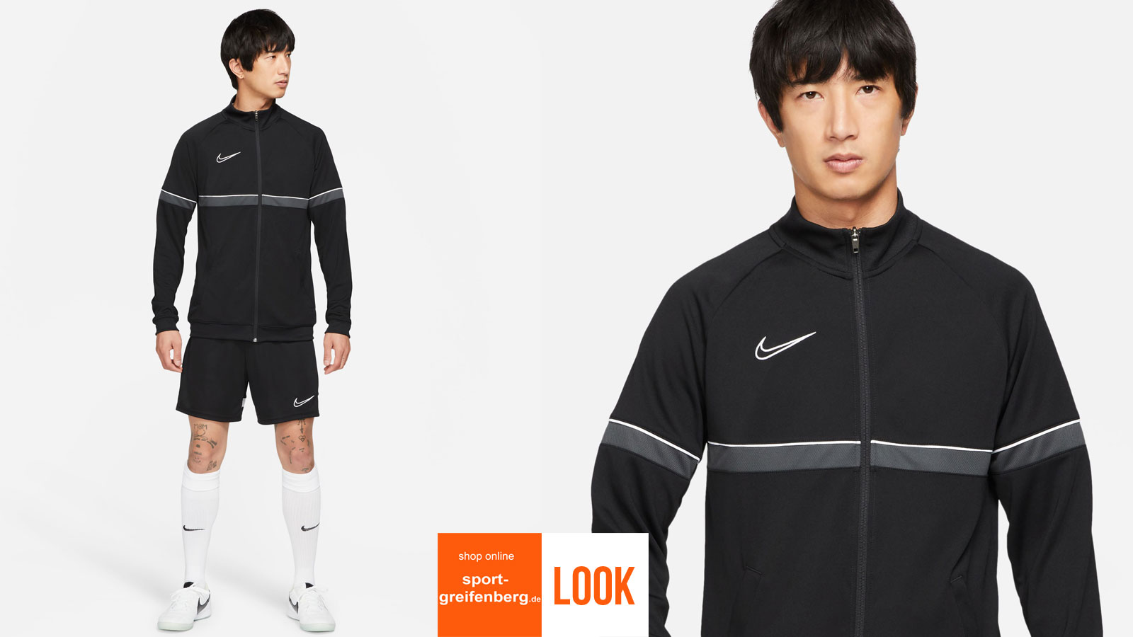 Das Nike Academy Training Outfit schwarz mit Trainingsjacke und Short