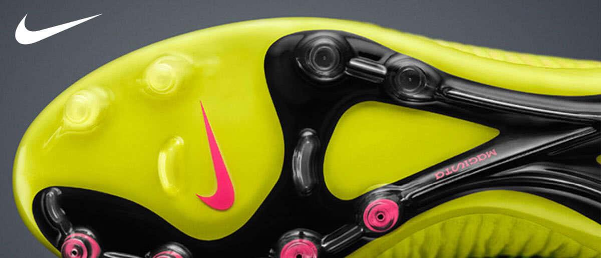 Die Sohlen der Nike Fußballschuhe