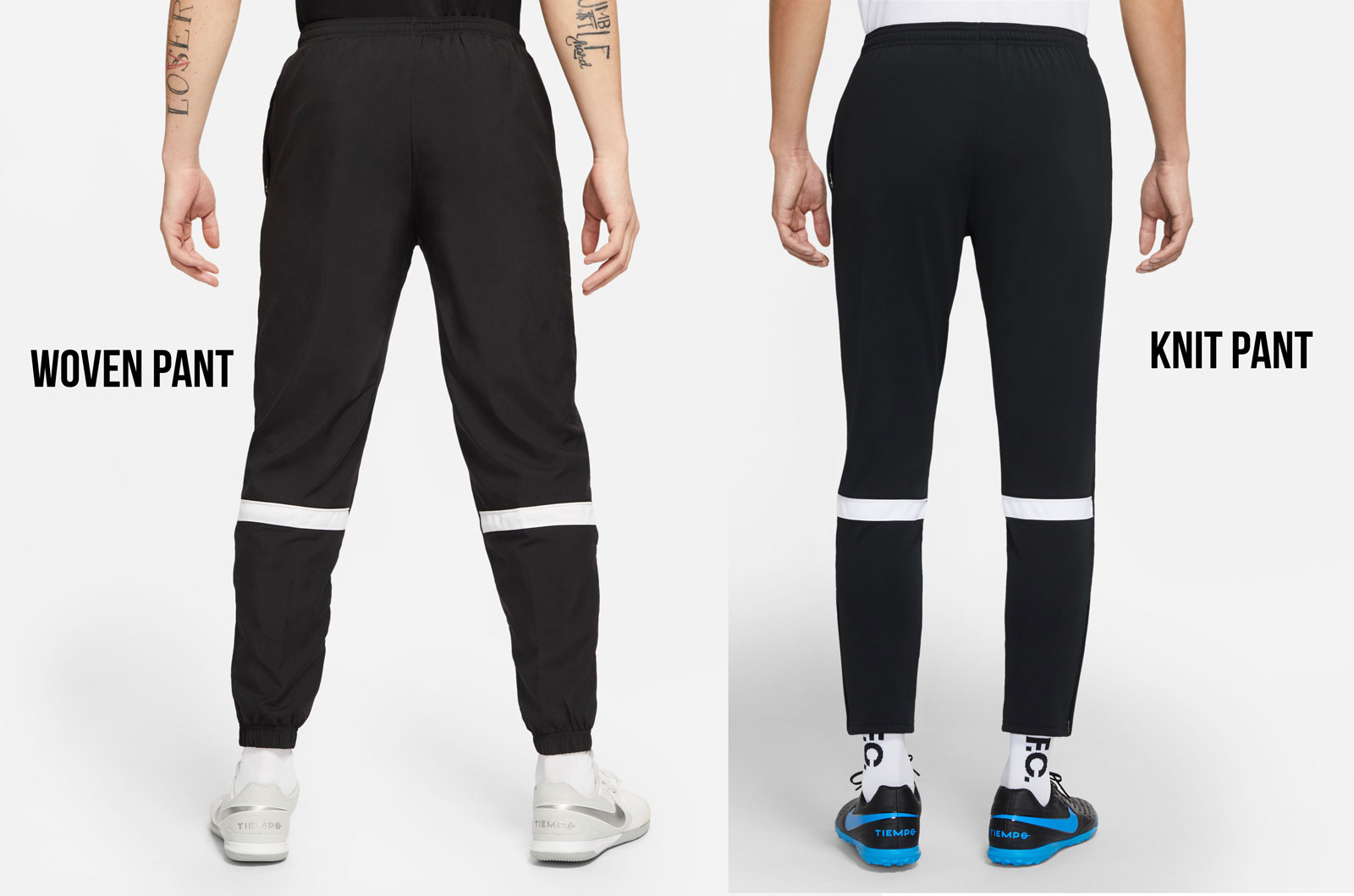 die Nike Academy Woven Pant und Knit Pant von hinten