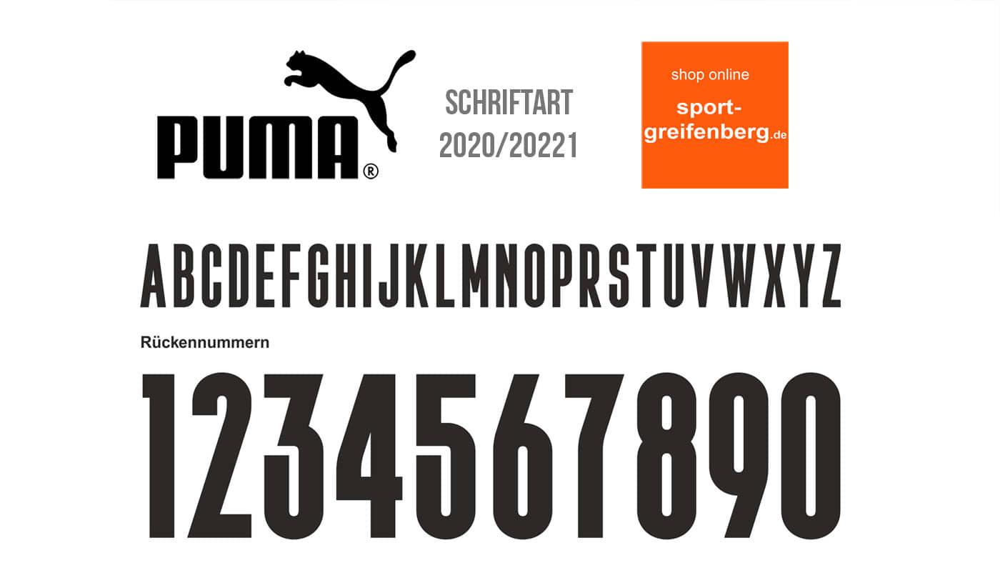 Die Puma Schriftart 2020/2021 (Puma20) für alle Trikots