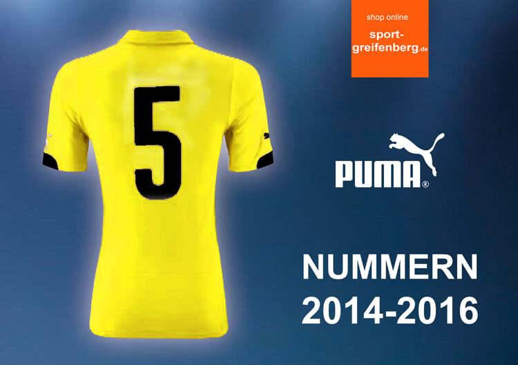 Die Puma Trikot Nummern 2014-2016 für das Dortmund Trikot und Co