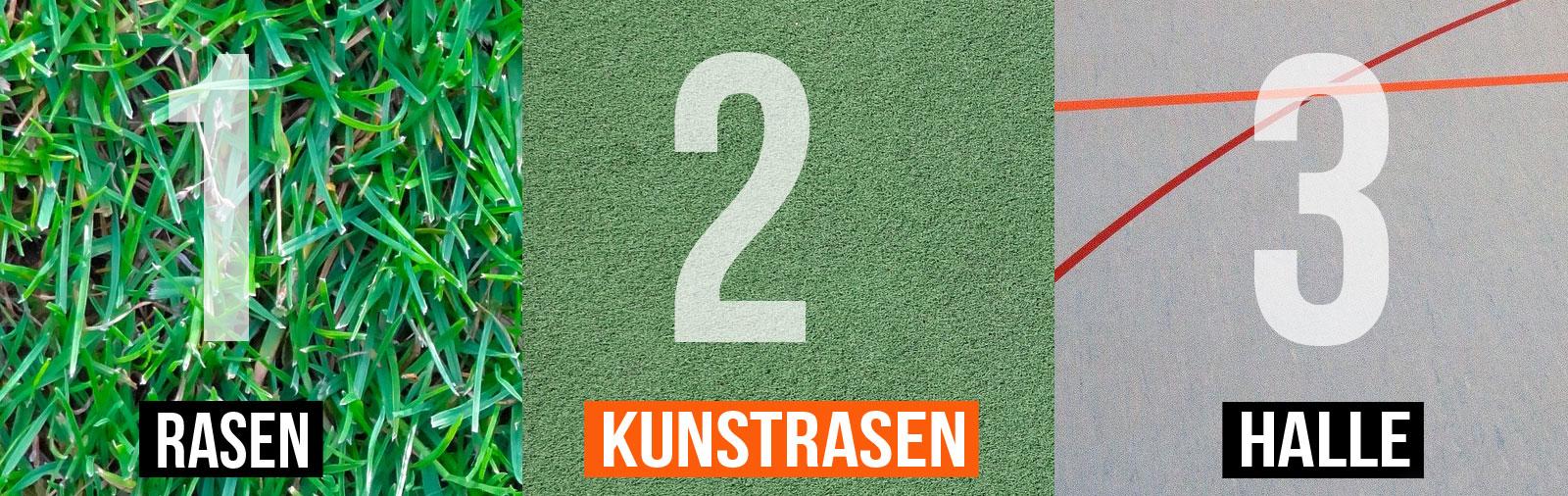 Die Rasen (FG) Kunstrasen (TF) und Hallen (IN) Fußballschuhe