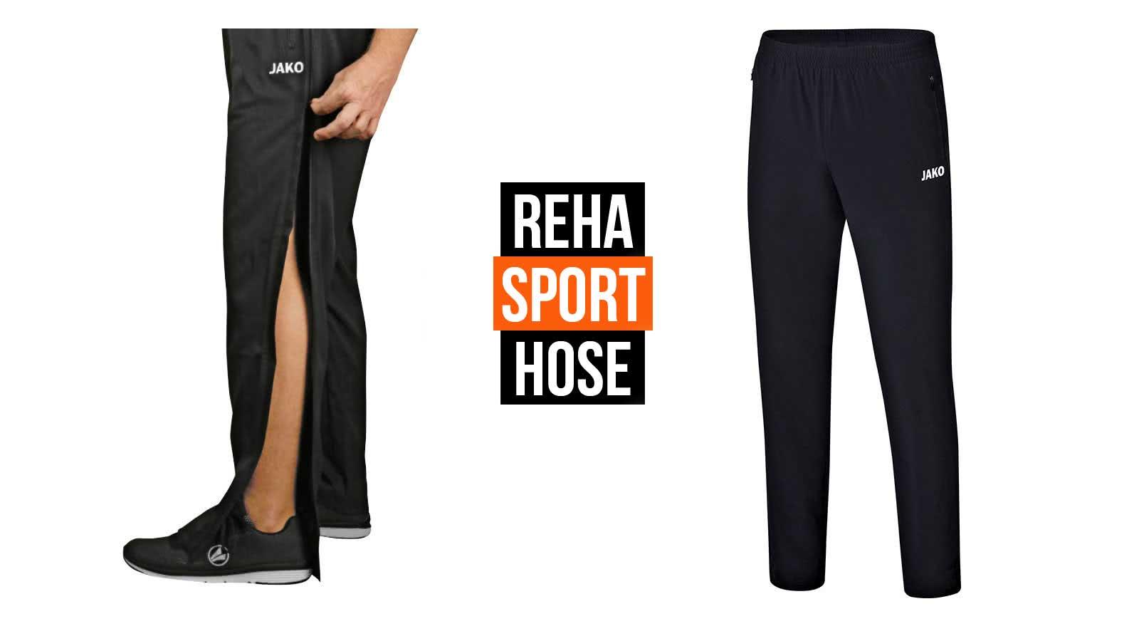 Die Reha Sport Hose mit einem durchgehendem Reißverschluss