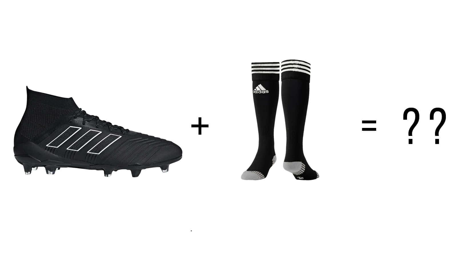 Stutzen und Socken in Fußballschuhen mit Socken