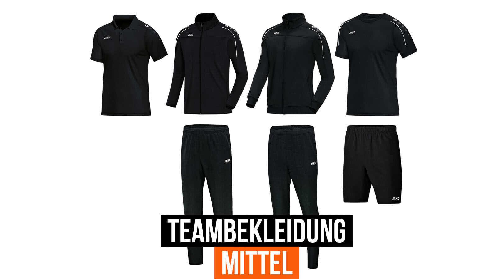 Die Teambekleidung Mittel mit Trainingsanzug und T-Shirt