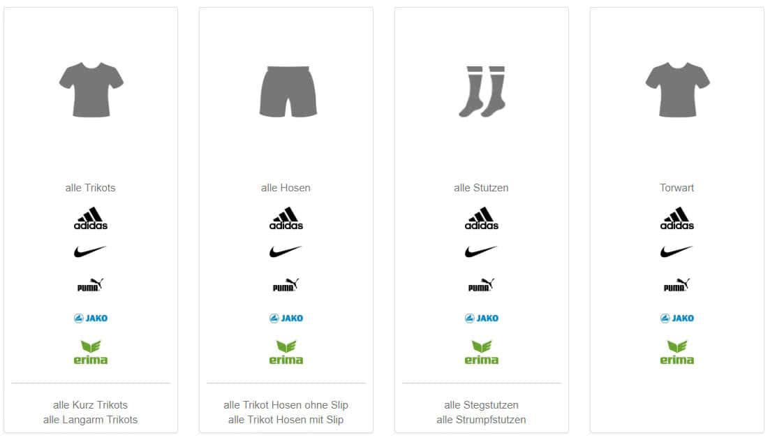 great prices fashion style united kingdom online Trikotsatz Konfigurator für Trikotsätze (alle Marken)