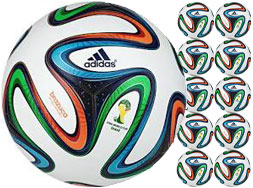 Das Adidas Brazuca Top Training Ballpaket mit 10 Fußbällen im WM 2014 Look