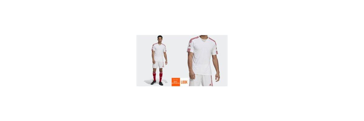 adidas 3 Streifen Trikot Set weiß rot - adidas 3 Streifen Trikot Set weiß rot | Jersey | Short | Stutzen