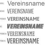 Taschen Druck mit einem Vereinsnamen