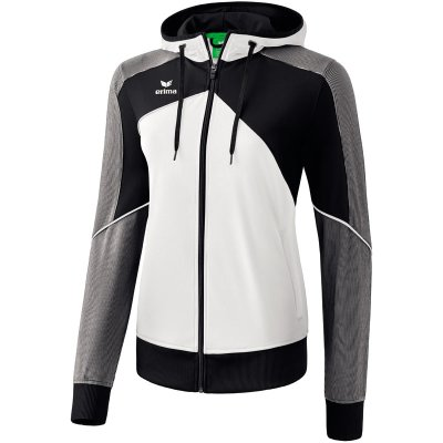 Erima Premium One 2.0 Trainingsjacke Mit Kapuze - white/black/white - Gr. 42 im Sport Shop