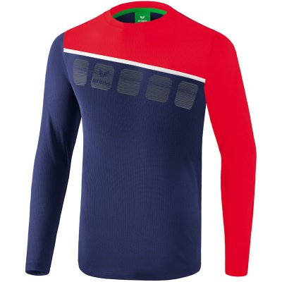 Erima 5-C Longsleeve - new navy/red/white - Gr. 152 (Farbe: rot L )