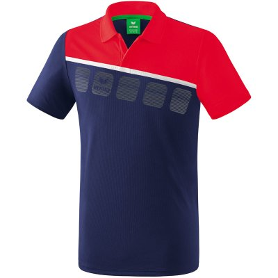 Erima 5-C Poloshirt - new navy/red/white - Gr. S (Farbe: rot S )