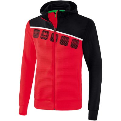 Erima 5-C Trainingsjacke Mit Kapuze - red/black/white - Gr. L (Farbe: weiß S )