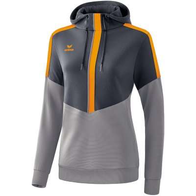 Erima Squad Kapuzensweat - slate grey/monument grey/new orange - Gr. 40 (Farbe: weiß S )
