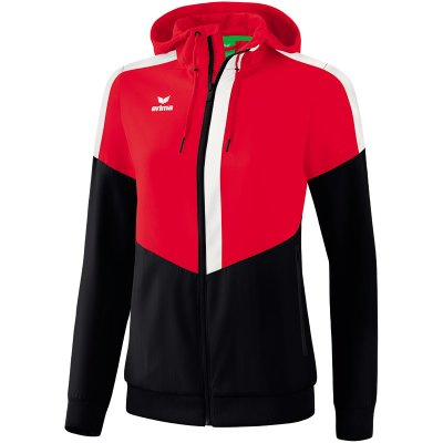 Erima Squad Tracktop Jacke Mit Kapuze - red/black/white - Gr. 34 (Farbe: rot S )