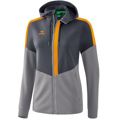 Erima Squad Trainingsjacke Mit Kapuze - slate grey/monument grey/new orange - Gr. 40 (Farbe: weiß S )